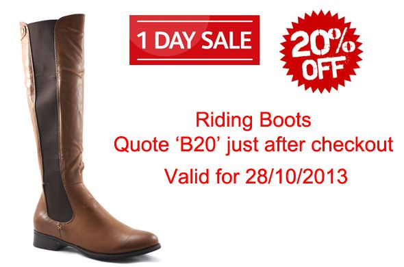 Sale! Today Only 28/10/2013 quote B20 after checkout, from the following link: http://shoesdays.co.uk/products/s066