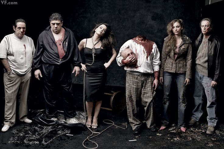 "Sopranos cast members who were killed off on the show: from left, David Proval (Richie Aprile), Vincent Pastore (Sal ""Big Pussy"" Bonpensiero), Annabella Sciorra (Gloria Trillo), model and prop head substituting for an absent Joe Pantoliano (Ralph Cifaretto), Drea de Matteo (Adriana La Cerva), and Steve Buscemi (Tony Blundetto)."