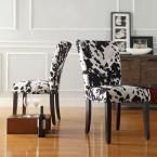 Whitmire Black Cowhide Fabric Parsons Dining Chair (Set of 2), Black/Cowhide