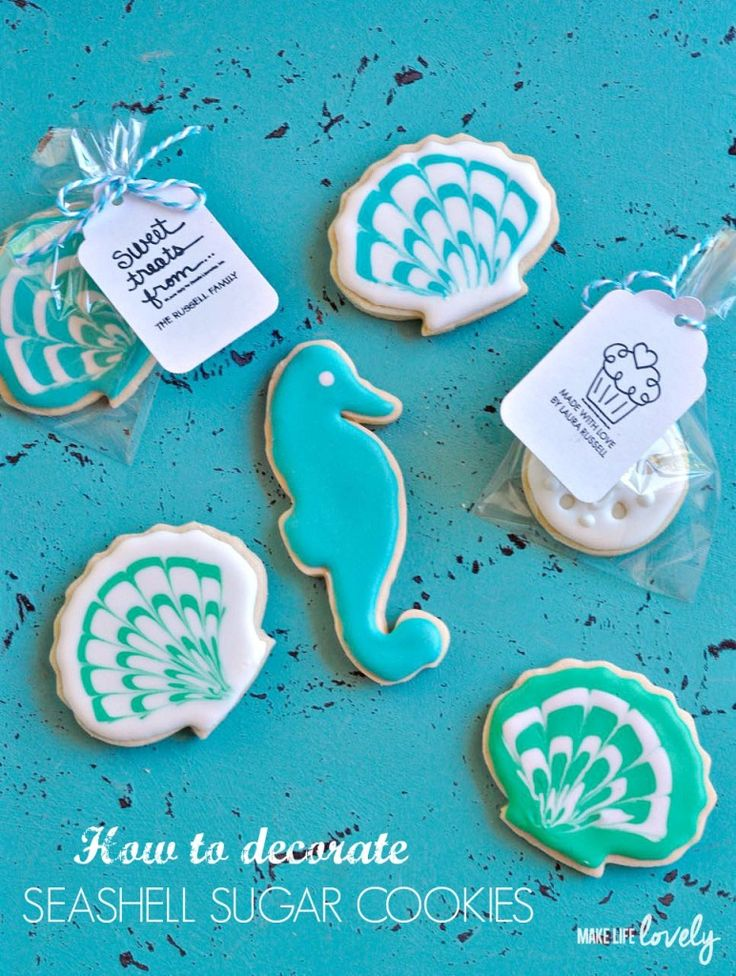 How to Decorate Seashell Cookies + $250 Visa Card Giveaway - Make Life Lovely