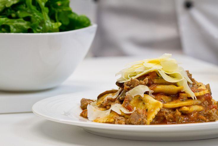 Beef Ravioli, mushroom, sausage & rosemary sauce: A warming welcome to Autumn