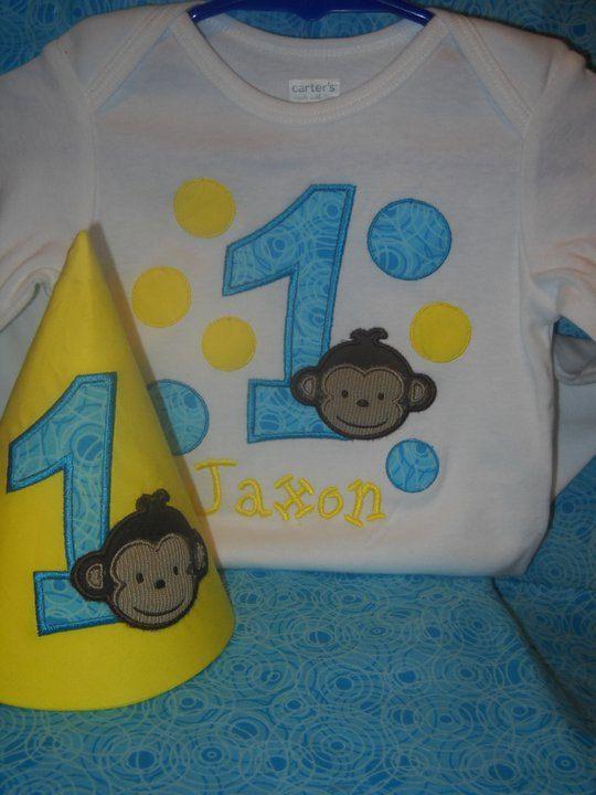 Mod Monkey Birthday Shirt/Onesie and Hat by SewingAtTiffanies, $35.00