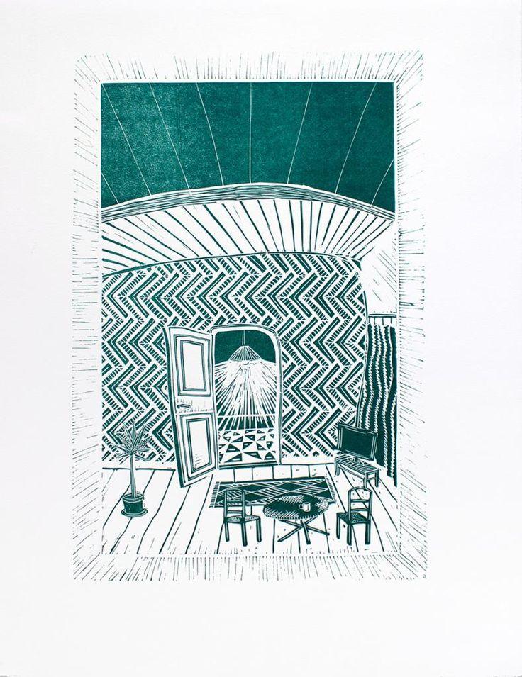 Living Room by Laurits Gulløv #art #artist #painting #drawing - Beauton Art Gallery - http://beautonart.com   http://beautonart.dk