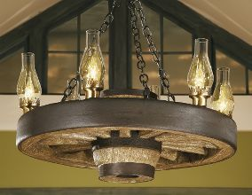 rustic lodge wagon wheel small chandelier with up lights - Wagon Wheel Chandelier