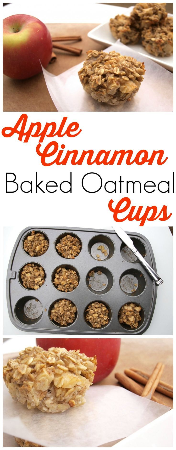 These Apple Cinnamon Baked Oatmeal Cups are a perfect portable oatmeal option! My kids love these and they are super healthy. It's so easy to mix this the night before and just bake it in the morning. Great easy breakfast recipe!