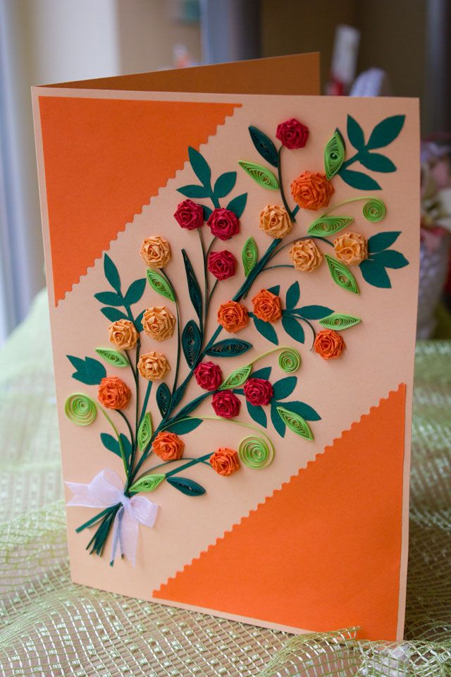 quilled paper card -die cut leaves, add quilled flowers