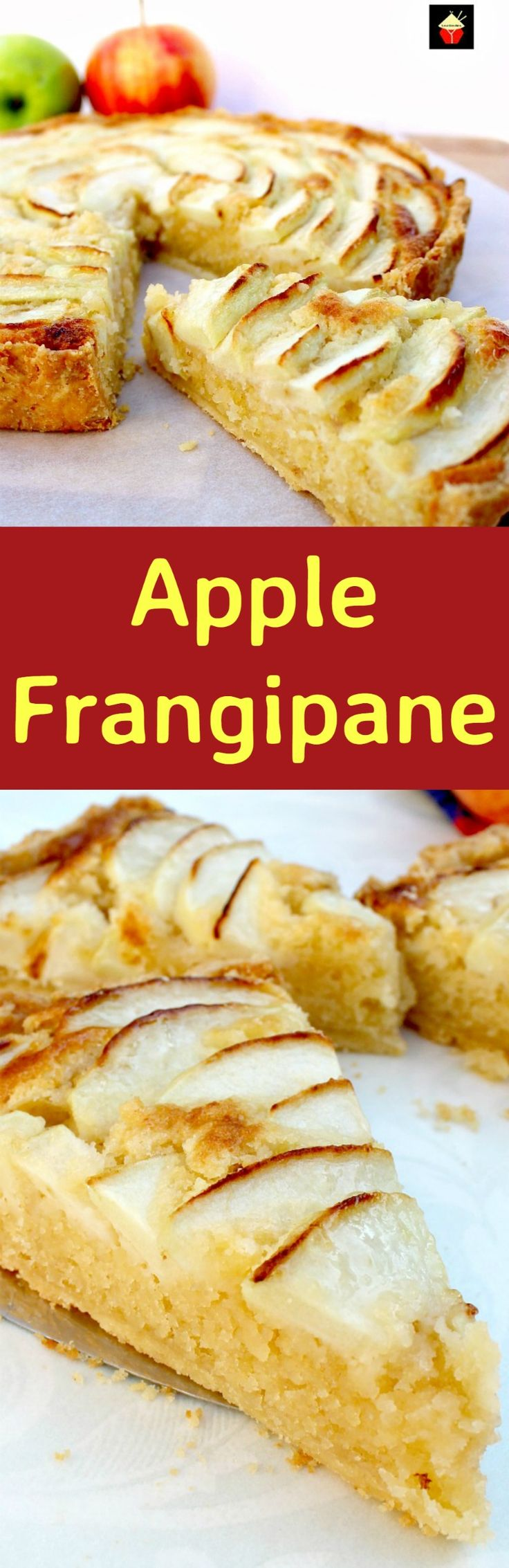 Apple Frangipane. This is a really nice coffee time cake to make. Goes great with a nice cup of tea! Or you can have as a dessert, warm or cold with a squirt of whipped cream or like me, a blob of vanilla ice cream! It's really yummy! Delicious! | Lovefoodies.com