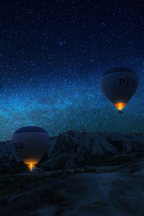 Blue - azul - night - noite - stars - estrelas - ballon - balão - viagem