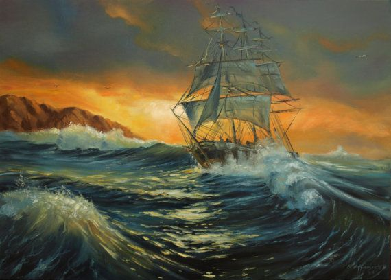 ship at sea original oil painting 19x27in seascape gift