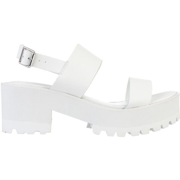 River Island White Block Heel Cleated Sole Sandals ($41) ❤ liked on Polyvore featuring shoes, sandals, clothes - shoes, heels, white, weekend-offer, white heeled sandals, heeled sandals, strappy high heel sandals and white platform sandals
