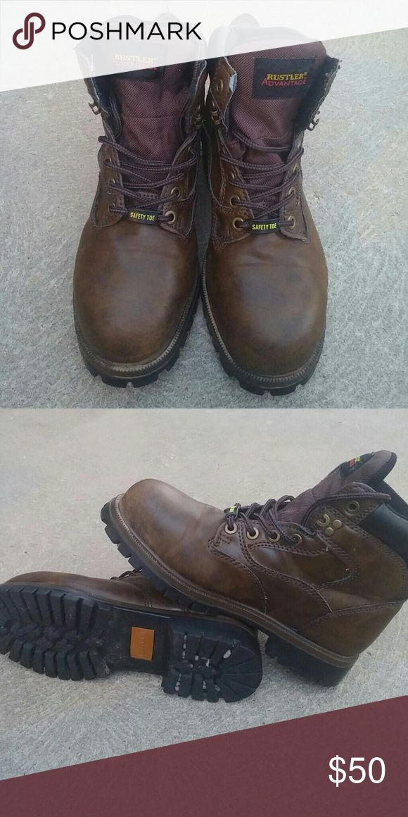 Mens Safety Toe Boots Rustler safety toe dark brown boots.  Mens size 9 1/2.  My husband wore these a handful of times.  Excellent condition! Rustler Shoes Rain & Snow Boots