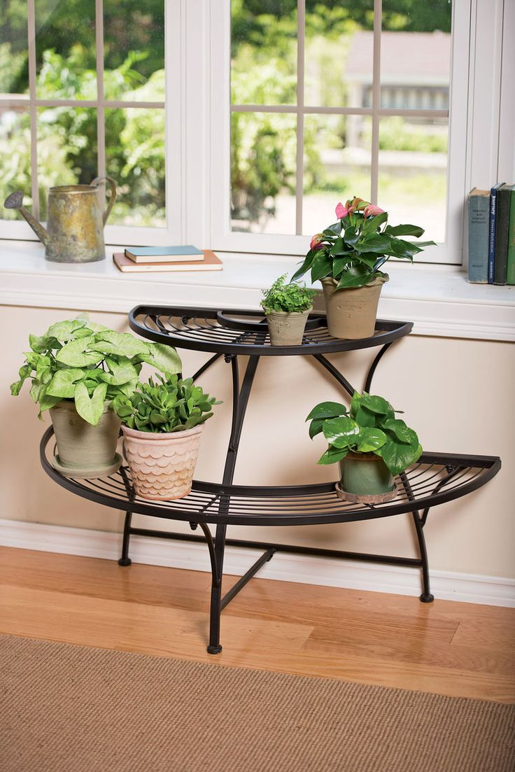 Semi-Circular Metal Plant Stand - Black Tubular Steel // $89.95