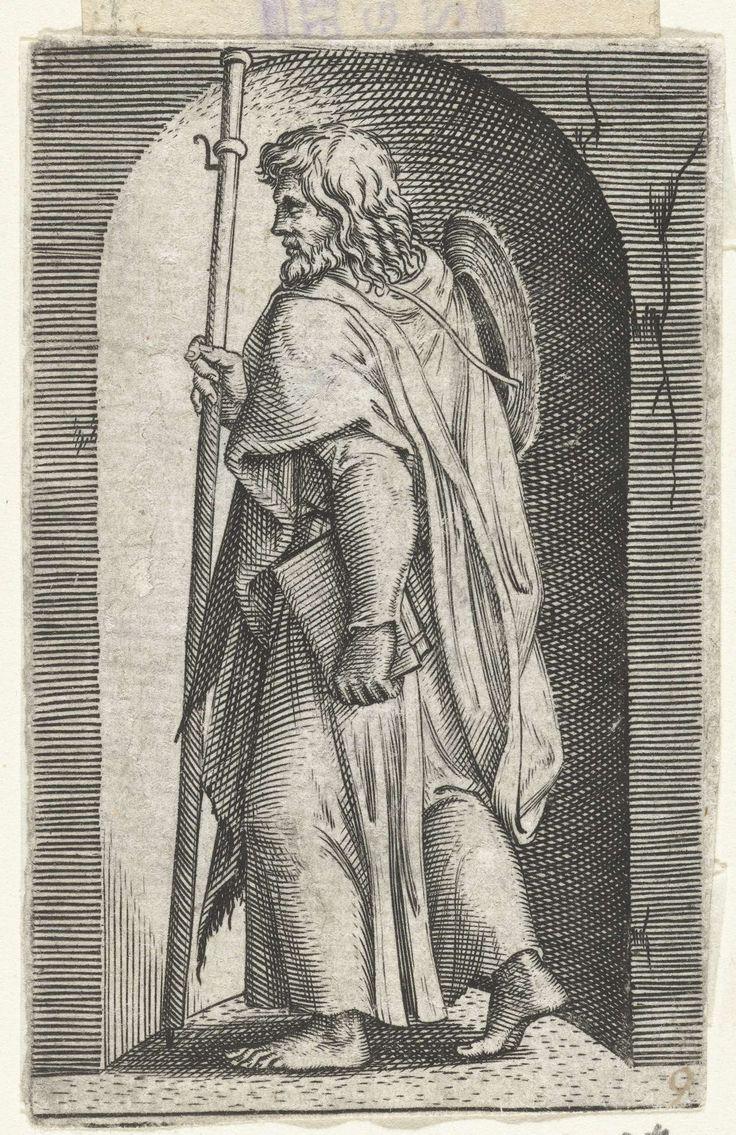 Apostel Jakobus de Meerdere (Major) met pelgrimshoed en pelgrimsstaf in nis, Marcantonio Raimondi, 1517 - 1577