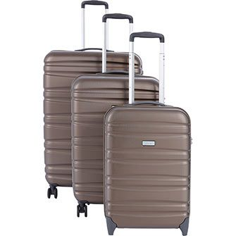 Eminent Dark Taupe Ridged Suitcases