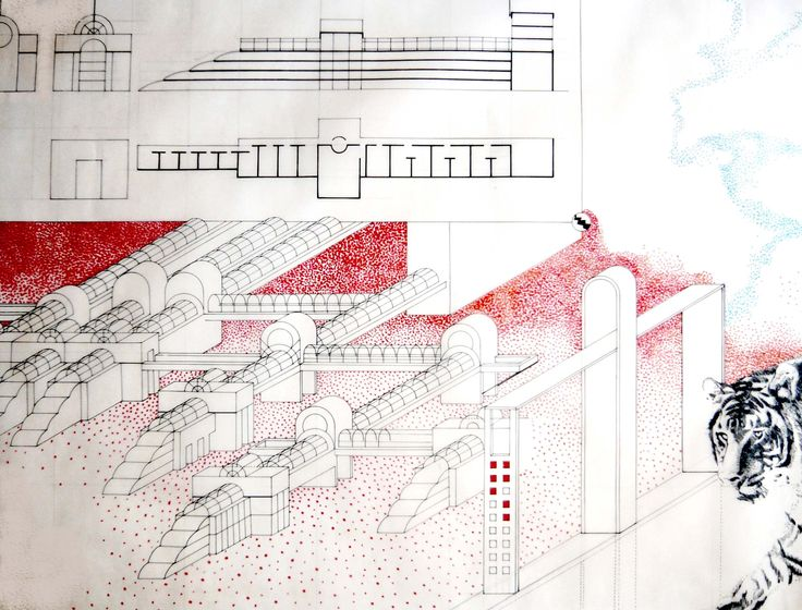 1977 FALANSTERIO_carta da lucido cm. 50 x 80 by Brunetto De Batté