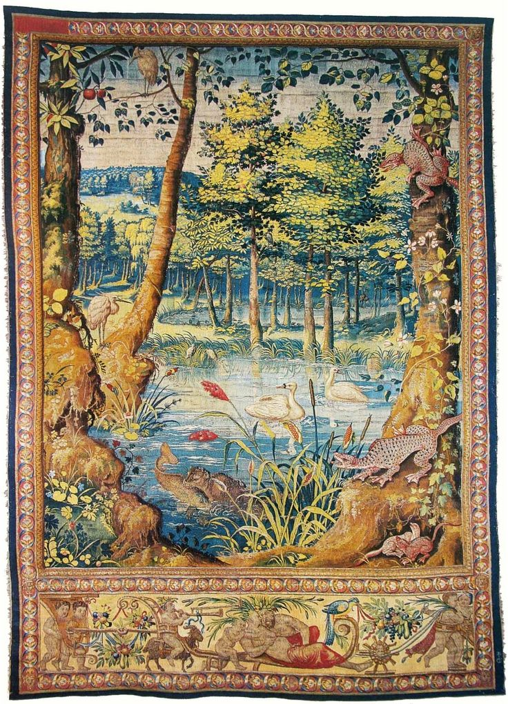 Verdure tapestry with an otter with a fish in its mouth by Jan van Tieghem after Pieter Coeck van Aelst, ca. 1555 (PD-art/old), Zamek Królewski na Wawelu, commissioned by Sigismund II Augustus