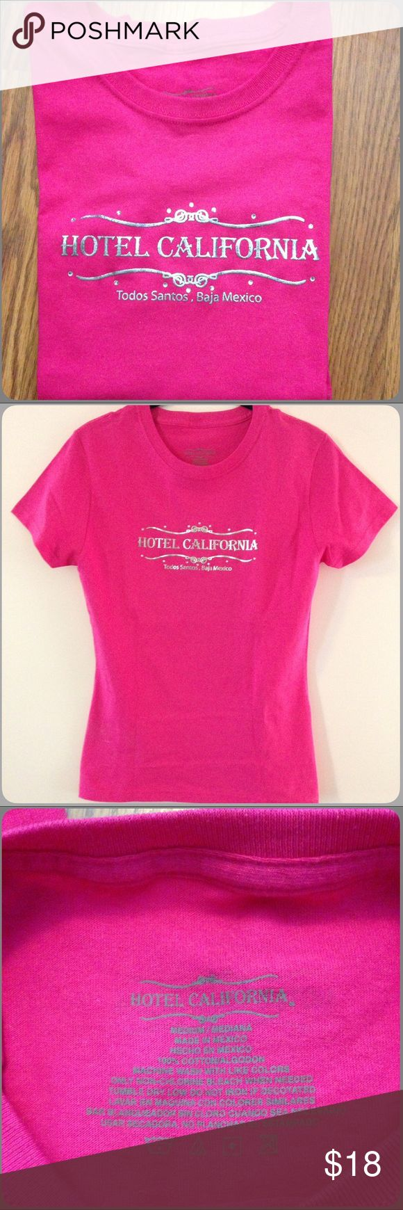 HOTEL CALIFORNIA-Todos Santos, Baja Mexico🏩 HOTEL CALIFORNIA-Todos Santos, Baja Mexico Hot Pink T-shirt. Silver Lettering. This was purchased at the hotel! NWOT. Never worn. Size S Tops Tees - Short Sleeve