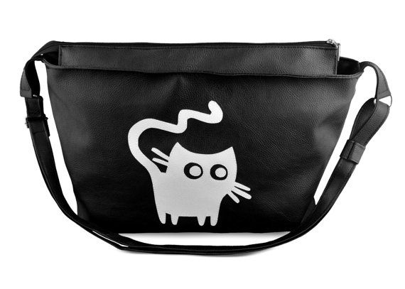 Made to order BIG handbag With white cat made of faux by YapokBags