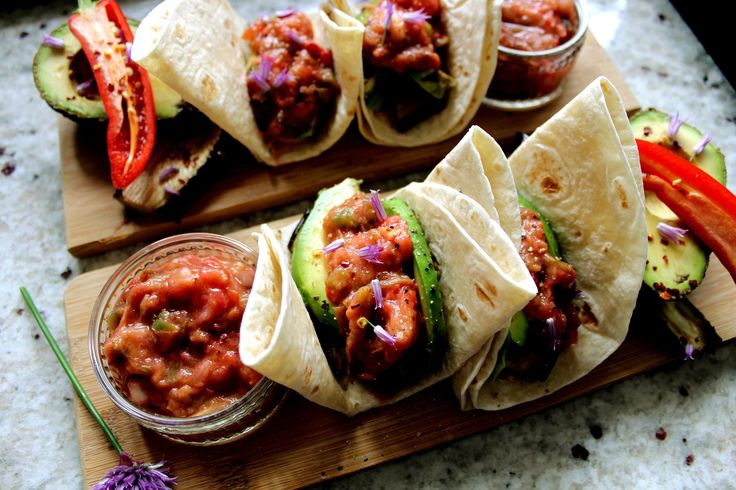 Avocado & Aubergine Wraps with Rhubarb Salsa