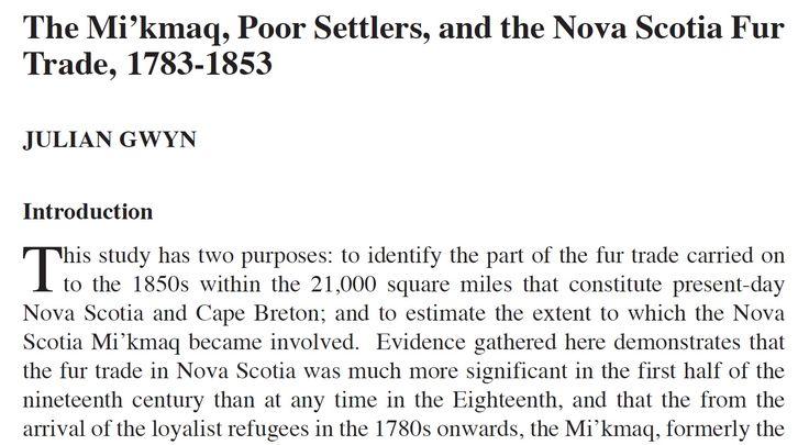 The Mi'kmaq, Poor Settlers, and the Nova Scotia Fur Trade, 1783-1853