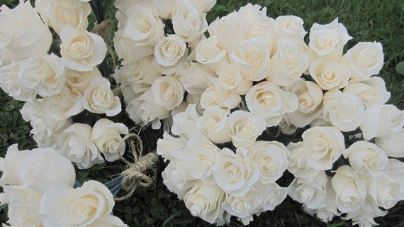 12 pcs IVORY roses Wedding Table Decorations by moniaflowers