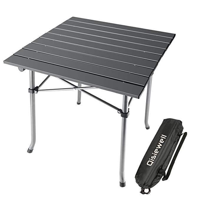 Qisiewell Camping Table Aluminum Outdoor Folding Beach Table Compact Lightweight Portable Small Picni Portable Picnic Table Outdoor Folding Table Camping Table