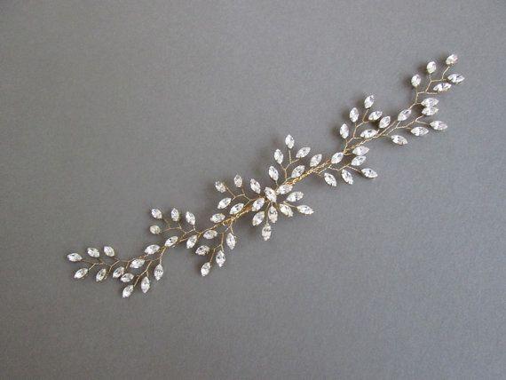 Dieses Blatt Motiv-Haar-Rebe erfolgt mit schönen Swarovski-Kristallen, die Blenden und Funkeln bei jeder Bewegung. Dieses Kopfstück ist super