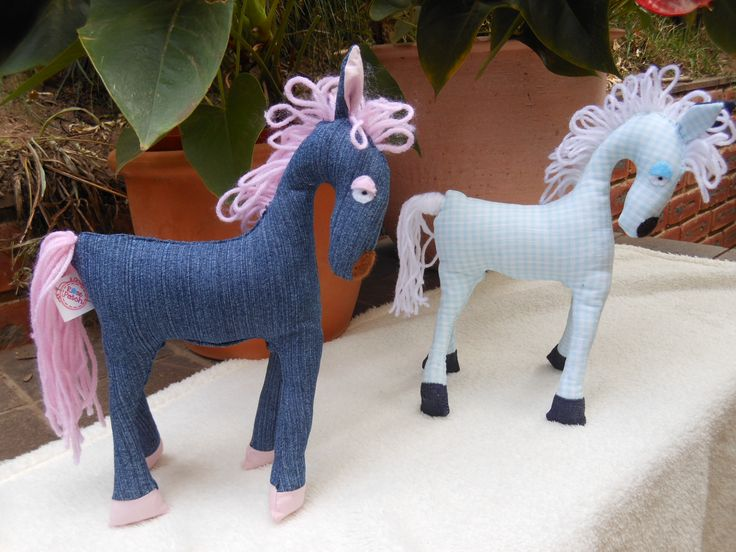 Smaller version of the horse in recycled denim and blue checks.  27cm high.