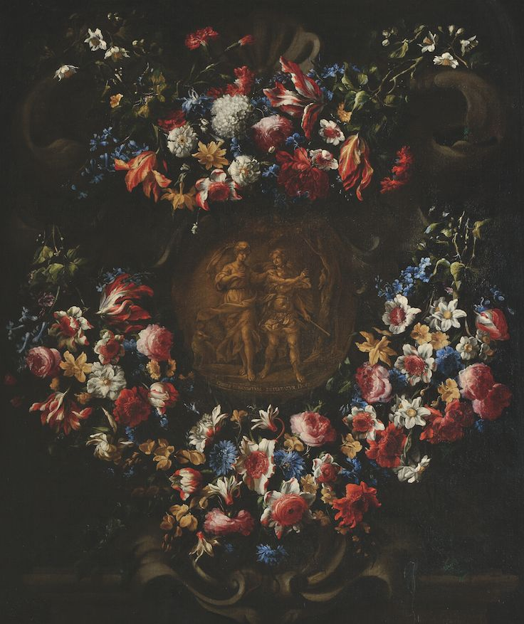 AXA ART: Juan De Arellano (Santorcaz-Madrid, 1614 - Madrid, 1676), Garland of flowers in a shell stone decor and mythological composition showing Circe and Picus, Oil on canvas, H.: 124 x W.: 104 cm ©Jean-Louis Losi.
