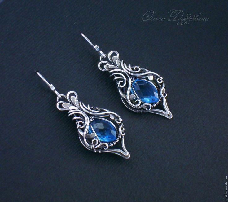 Купить Серьги из серебра с кварцем - голубой, серьги, серебро 925 пробы, серебряный, кварц, подарок