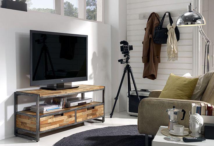 Mueble tv 2 cajones teca reciclada material madera de - Muebles madera reciclada ...