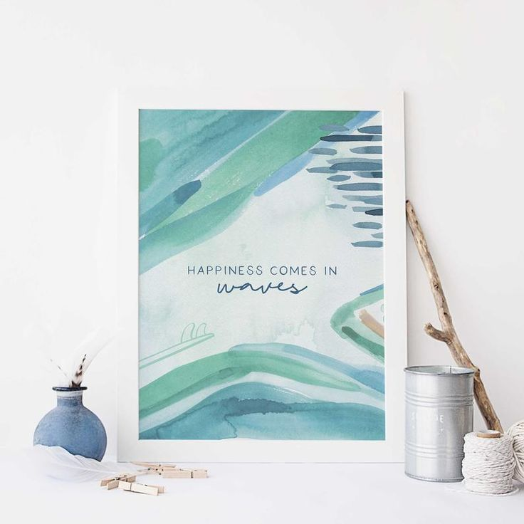 Happiness Comes in Waves Beach Quote Surfer Poster Blue Watercolor Wall Art Print or Canvas