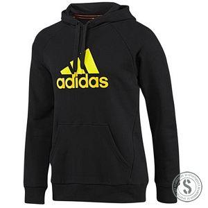 Adidas Essentials Logo Hoodie - Black  Een groot adidas logo op de voorkant geeft deze heren trainingshoodie een klassieke look. De adidas Essentials Logo Hoodie bevat een trekkoord in de kap en kangoeroe zakken.  See more at: http://www.sportselect.be/essentials/heren-vest-2/essentials-logo-hoodie-black/
