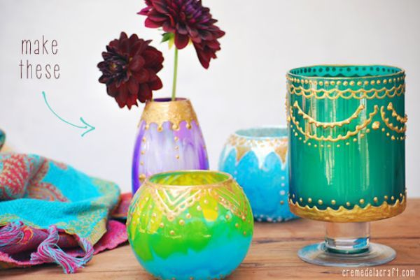 How to make your own candle holders: Moroccan Candles, Glasses Paintings, Candle Holders, Candles Holders, Diy Moroccan, Moroccan Style, Glasses Jars, Moroccan Lanterns, Diy Projects
