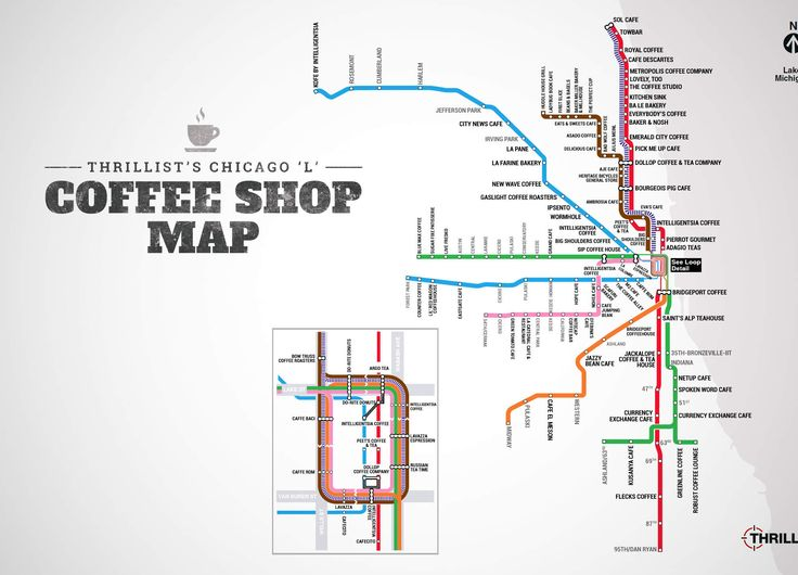 "May your morning commute forever be fueled by sweet, sweet caffeine. WE MADE A CHICAGO ""L"" COFFEE MAP. ENJOY."