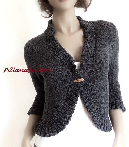 Knitting pattern for Ruffled Bolero - cropped cardigan shrug. I loved the knit ruffled edge. It really adds a unique detail. SIZES S- M- L More pics on Etsy (affiliate link) tba