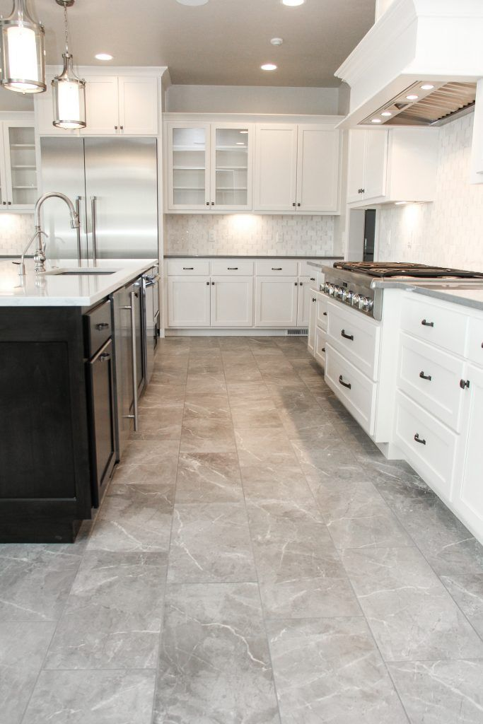 Muted Grey Tile Floor Kitchen And White Tile Kitchen Backsplash Grey Tile Kitchen Floor Porcelain Tile Floor Kitchen Kitchen Floor Tile