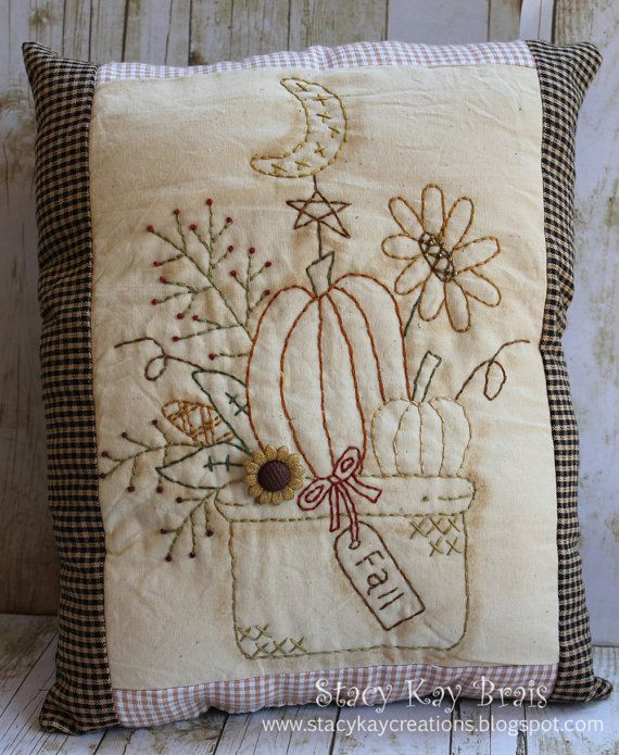 Handmade Primitive Fall Bouquet Pillow  by ScrapbookingCottage, $30.00
