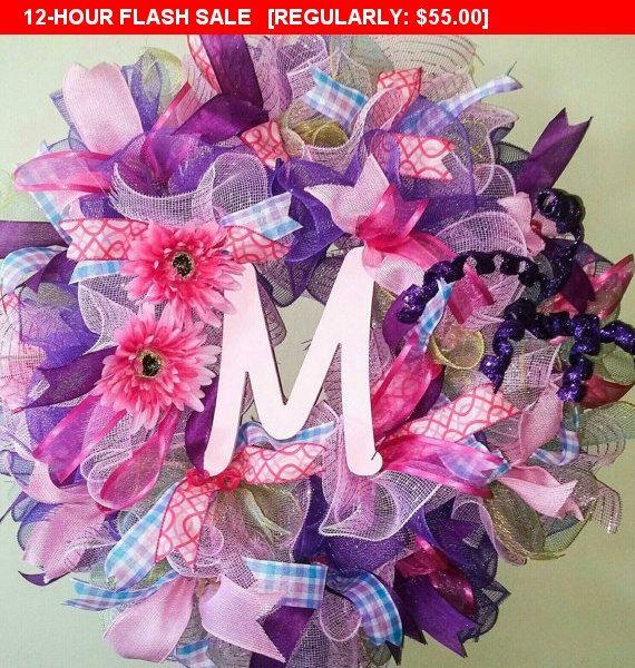 Deco Mesh Wreath, Nursery Accent, Hospital door hanger, Girls Wall Door Wreath, baby shower decoration, dorm decor, Teen, birthday, Initial