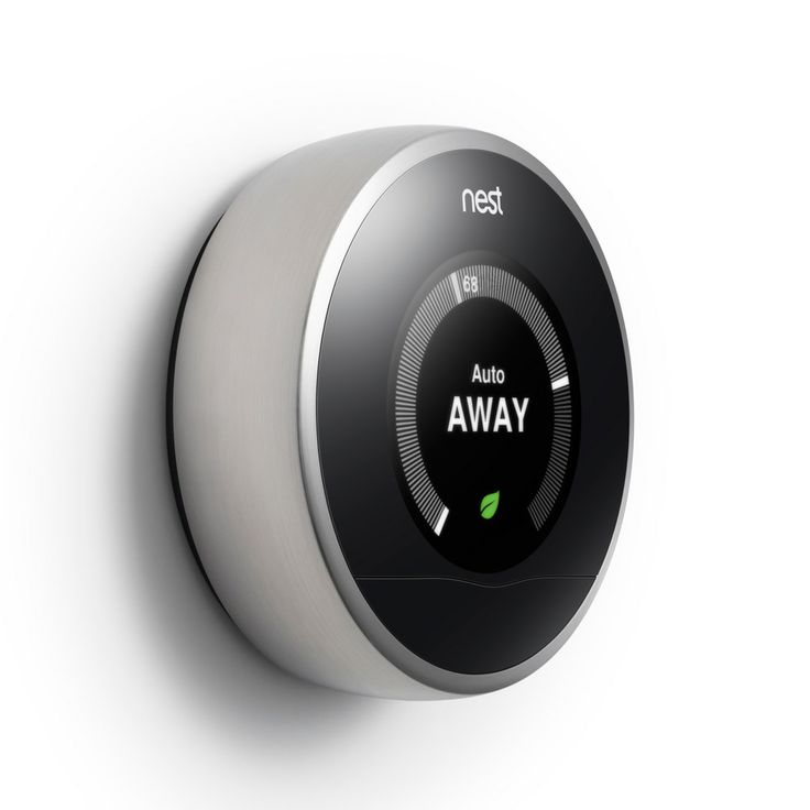 Refined thermostat design combining a brushed stainless steel ring with a bright LCD screen. The Nest Learning Thermostat.