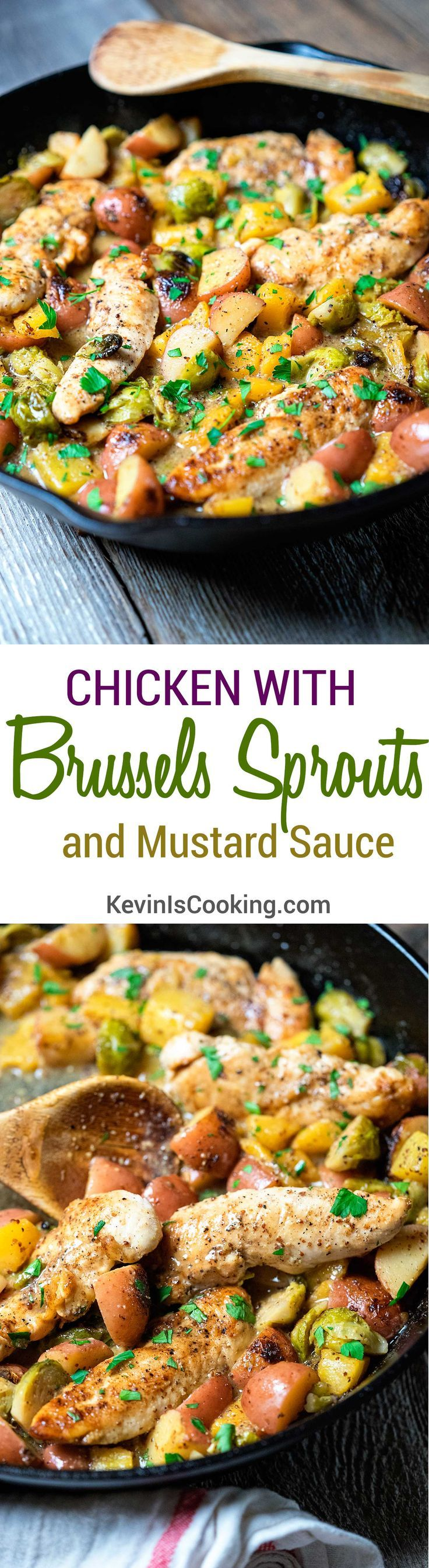 Chicken with Brussels Sprouts and Mustard Sauce.