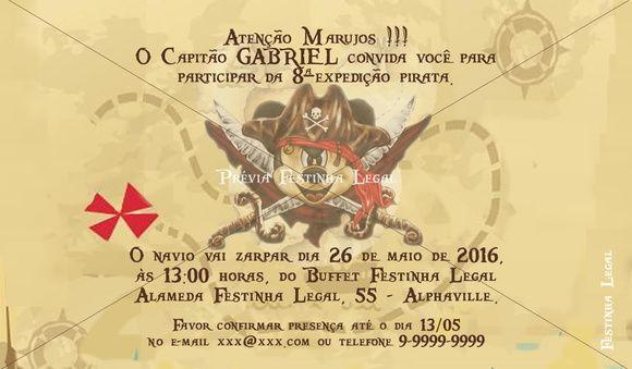 Convite Mickey pirata mapa do tesouro