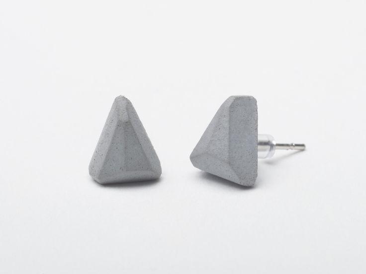AB concrete design - WEDGE / gray Earrings, concrete, design, gray, stone, meteor, triangle, polygon, rock, minimal, elegant