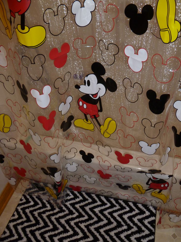 Mickey Mouse shower curtain (Walmart) Black and white zigzag bath mat  (JCPenny) - 109 Best Everything Mickey Mouse Images On Pinterest