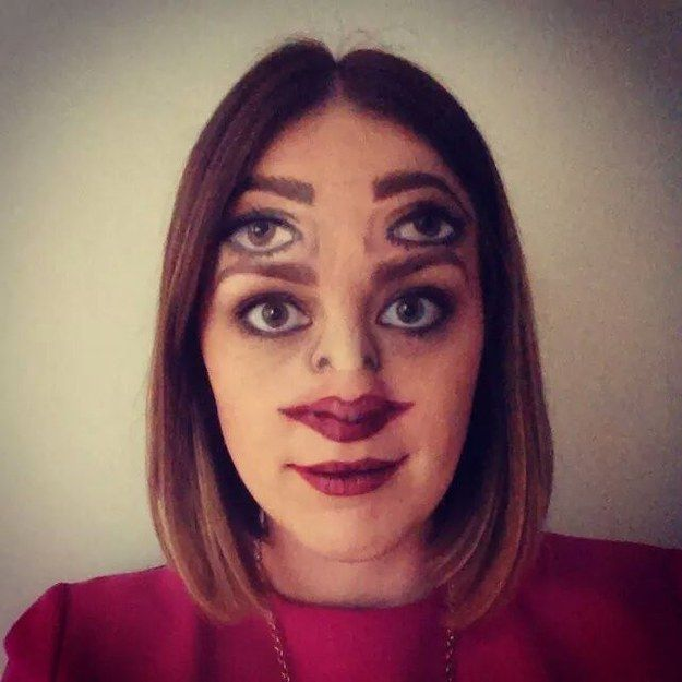 This confusing Halloween makeup:   27 Completely Innoncent Images That Will Bother You For Some Reason
