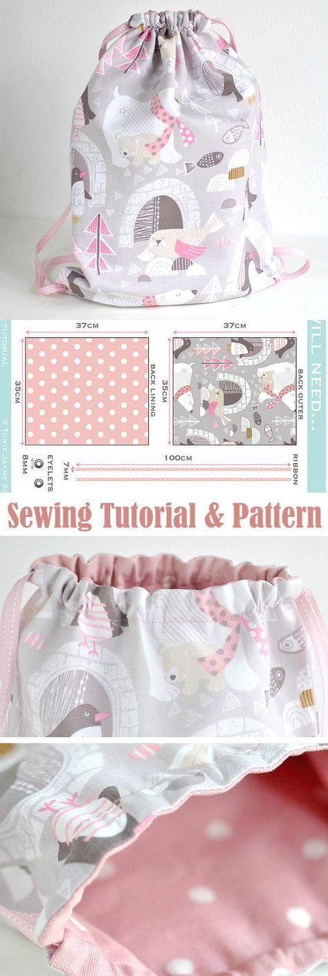 Toddler Girls Drawstring Backpack Sewing Tutorial http://www.free-tutorial.net/2017/09/drawstring-backpack-sewing-tutorial_28.html