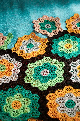 Peneloppee's 70's Crochet Afghan. Links to pattern under notes
