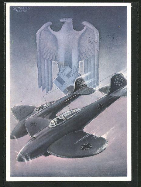 old postcard: Künstler-AK Deutsche Wehrmacht, Flugzeug mit Hakenkreuz vor Hoheitsadler mit Hakenkreuz