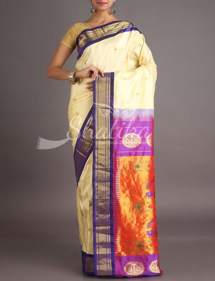 Rashmi Cream With Contrast Oblique Border Real Zari Paithani Silk Saree