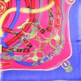Платок шелковый прозрачный синий с алым с ремнями